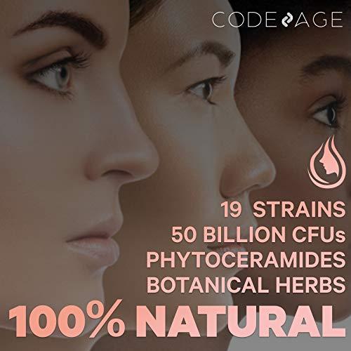 Codeage Skin Probiotics + Prebiotics - Skin Care Routine Supplement - 50 Billion CFU - Ayurvedic Botanical Herbs - Face Probiotics - Shelf Stable Cleanser, Non-GMO, Vegan - 60 Capsules 7