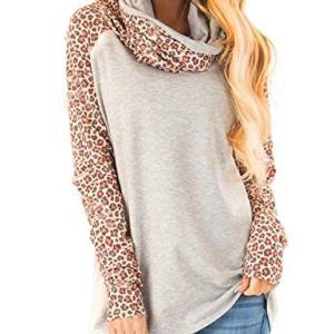 Blivener Women's Casual Sweatshirts Long Sleeve Leopard Print Tops Cowl Neck Raglan Shirts 20