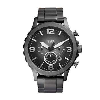 Fossil Men's Nate Quartz Stainless Chronograph Watch, Color: Smoke (Model: JR1437)