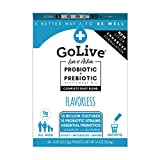 GoLive Probiotics for Women, Men and Kids - Prebiotics and Probiotics for Gut & Digestive Health - Clinically Tested Formula Proven, Recommended by Doctors and Dietitians (Sugar Free Flavorless, 28Ct)