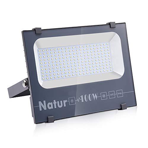 NATUR Faretto 100W Fari LED per Esterno 10000LM Proiettore Moda Leggero, Faro Impermeabile IP66 per Giardino Cortile, Lampada Luce Potente Super Luminosa 6000K Luce Bianca[Classe Energetica A++]