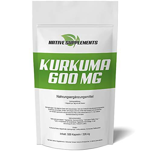 320 Kapseln Curcuma - Kurkuma - Curcumin Extrakt, Hochdosiert 600mg, mit Schwarzem Pfeffer - Für Vegetarier & Veganer geeignet