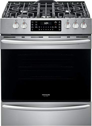 """Frigidaire FGGH3047VF 30"""" Gallery Series Gas Range with 5 Sealed Burners, griddle, True Convection Oven, Self Cleaning, Air Fry Function, in Stainless Steel"""