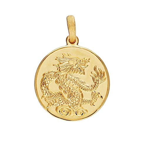PRIMAGOLD(プリマゴールド) 24金メンズジュエリー 純金 コイン型ペンダント(表と裏に二匹の龍)紐ネックレ...