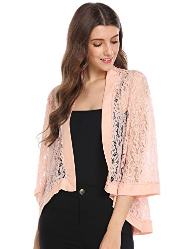 Zeagoo Women's Dressy Cardigan Long Sleeve Shrug Sweater Pink XXL