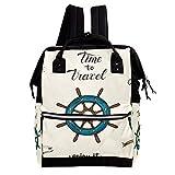 TIZORAX - Mochila náutica para pañales con ruedas de ancla, gran capacidad, bolsa de bebé, multifunción, para viajes, mamá, para el cuidado del bebé