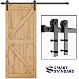 SMARTSTANDARD 6.6ft Heavy Duty Sturdy Sliding Barn Door Hardware Kit -Smoothly and Quietly -Easy to install -Includes Step-By-Step Installation Instruction Fit 36'-40' Wide Door Panel (I Shape Hanger)