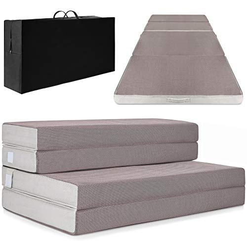Best Choice Products 4in Thick Folding Portable Customizable Twin Mattress Topper w/Bonus Carry Case, High-Density Foam, Washable Cover