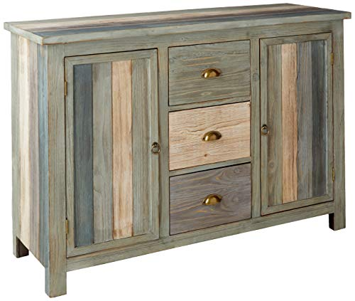 Collective Design Transitional Sanibel Breakfront with Three Drawers and Two Doors Credenza, Blue