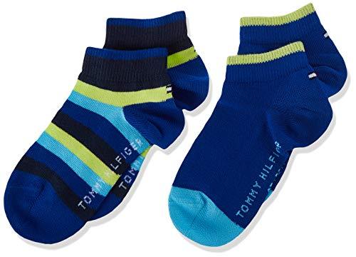 Tommy Hilfiger Basic Stripe Kids Quarter Socks (2 Pack) Calzini, Combo Blu, 27/30 Bambino