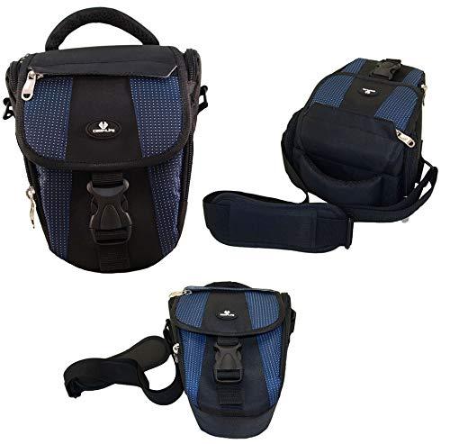 Case4Life Nero / Blu Nylon Fotocamera Reflex Custodia Fondina per Nikon SLR D Series - D3100, D3200, D3300, D4, D40, D5, D500, D5100, D5200, D5300, D5500, D610, D700, D750, D7100, D7200, D800, D810, D810A Garanzia a vita