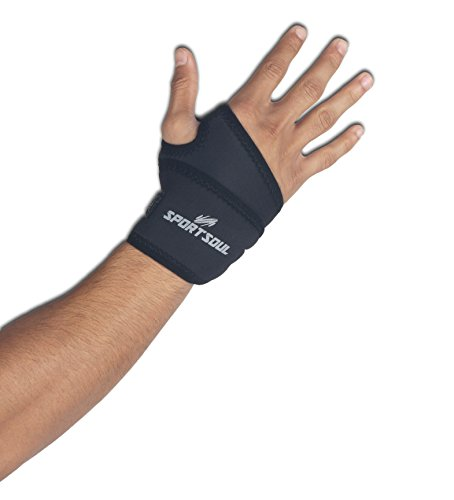 SportSoul WST1 Wrist Support with Thumb Strap, Free Size (Black)