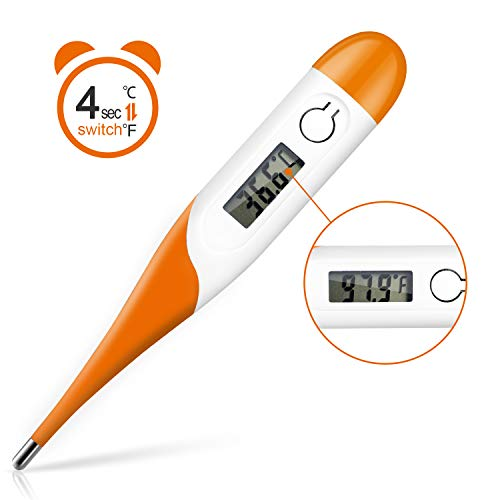 Digital Medical Thermometer, Adoric Rectal and Oral Thermometer for Adults and Babies, Thermometer for Fever - Accurate and Fast Readings with Fever Indicator