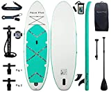 Aqua Plus 11ftx33inx6in Inflatable SUP for All Skill Levels with Stand Up Paddle Board, Adjustable Paddle,Double Action Pump,ISUP Travel Backpack, Leash, Shoulder Strap,TPU Waterproof Bag
