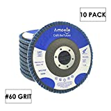 amoolo 4 1/2 Flap Disc (10 Pack), T29 Zirconia Angle Grinder Sanding Disc (60 Grit), Abrasive Grinding Wheel (7/8 inch Arbor Size)