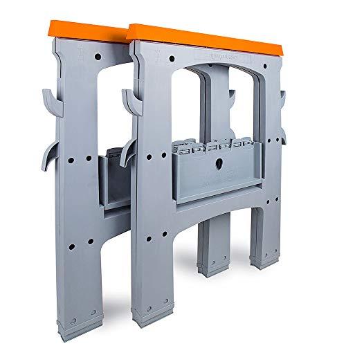 AmazonBasic - Arbeitsbock, Sägebock, Unterstellbock, Werkstattbock, Klappbock, klappbar, fester Stand mit rutschfesten Füßen, 408 kg Belastbarkeit, 2er-Pack