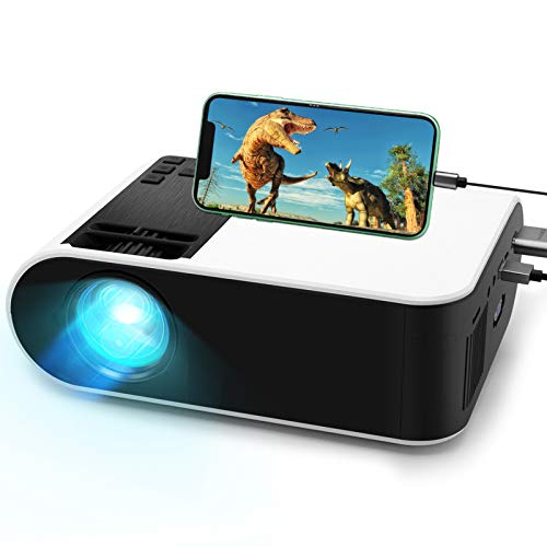 Mini Projector,WayGoal Movie Projector with 50000 Hours LED Lamp Life and 1080P Supported Projector for Outdoor,150' Display for TV Stick,Video Game,Dual Speakers