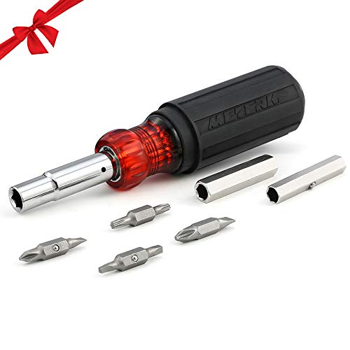 Meterk Screwdriver and Nut Screwdriver, 11 In 1 Multitool Screwdriver, Heavy Duty Screwdriver Including 2 Phillips, 2 Torxs, 2 Flats, 2 Square Heads and 3 Nut Drivers