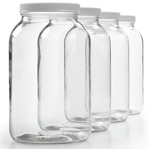 4 Pack - 1 Gallon Glass Jar w/Plastic Airtight Lid, Muslin Cloth, Rubber Band - Wide Mouth Easy Clean - BPA Free & Dishwasher Safe - Kombucha, Kefir, Canning, Sun Tea, Fermentation, Food Storage