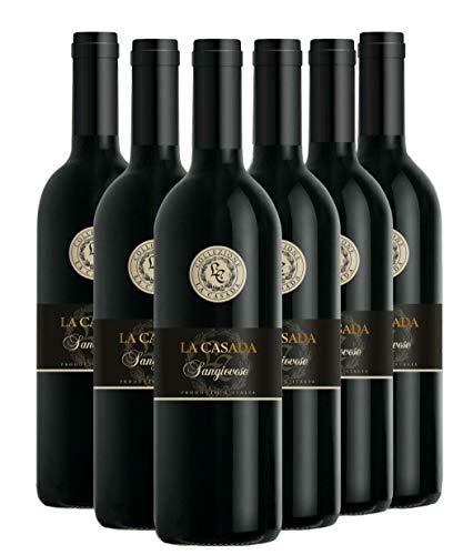 LA CASADA Sangiovese Rubicone IGT, Vino Rosso, Ottimo da Servire con Arrosti, Carni Rosse alla Griglia e Formaggi Stagionati, 6 x 750 ml, Made in Italy, 12% Vol