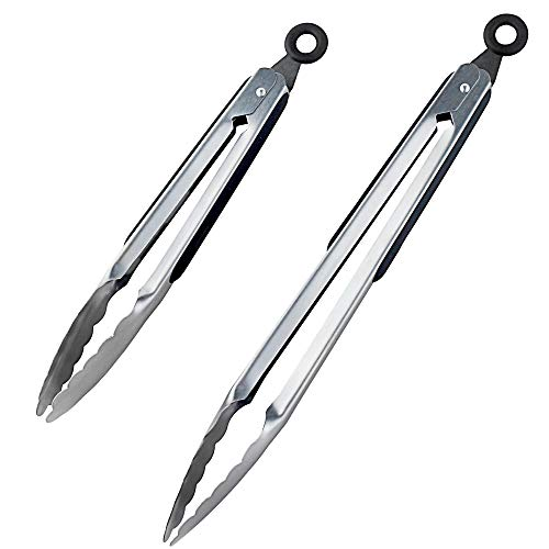 DRAGONN Premium Set of 12-inch and 9-inch Stainless-Steel Locking Kitchen Tongs, Set of 2 - Sturdy, Heavy Duty Tong Set - Great for Cooking, Grilling, and Barbecue (BBQ) (Silver)