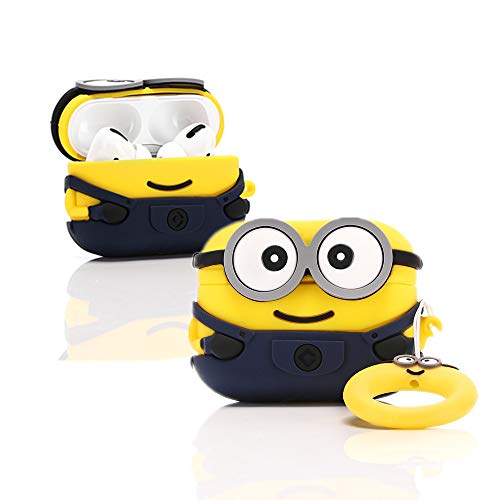 LEWOTE - Custodia in Silicone per Airpods Pro, Divertente, Compatibile con Apple Airpods Pro[3D Cartoon Pattern][Progettata per Bambini e Ragazzi] (Two Eyes Minions)