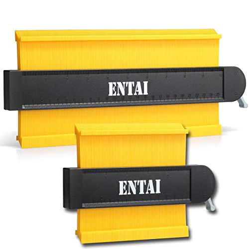 ENTAI Contour Gauge with Lock, 2 Pack Widen Contour Duplications Gauge 5 Inch and 10 Inch, Profile Shape Copy Tool, Perfect Plastic Ruler for Corners, Woodworking Templates, Tiles and Laminate