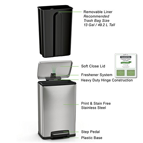 Product Image 2: Tramontina 13 Gallon Step Trash Can Stainless Steel Includes 2 Freshener Cartridges …