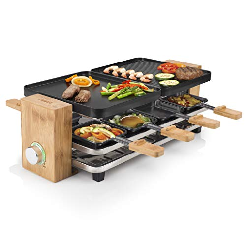 Princess 162910 Raclette Pure 8, 1200 W, bamb, Nero