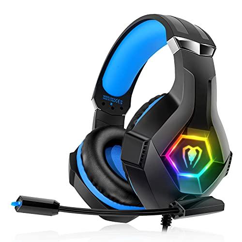 decoche Auriculares para PS4, PS5, PC, Xbox One, PS4, Auriculares con micrófono, Sonido Envolvente 3D, cancelación de Ruido, Luces LED RGB GM-6, Negro M
