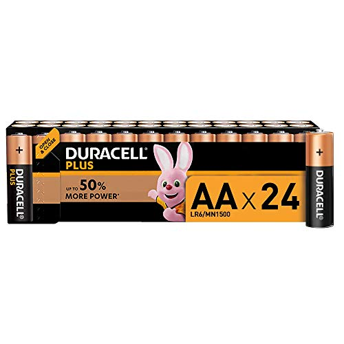 Duracell Plus AA Batterie Stilo Alcaline, Confezione da 24 Pacco del Produttore, 1.5 Volt LR06 MX1500, 24 Batterie