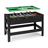 Klarfit Spin Table de jeu 2-en-1 - table de billard: 105 x 58 cm/couverture verte, table de baby-foot, accessoires de jeu inclus, fonction Spin: table tournante pour un changement rapide de jeu, noir