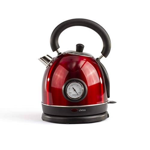 Livoo DOD157 Wasserkocher Retro Vintage Rot mit integriertem Themometer | Kapazität 1,8 l, automatische Abschaltung, Kalkfilter | 1800 W