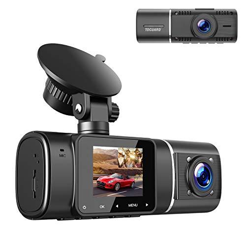 """TOGUARD Dual Dash Cam, Doppia 1080P Lente Telecamera per Auto Anteriore e Abitacolo per,Telecamera Auto a Registrazione Continua con Visione Notturna IR, Grandangolare 310°, Schermo LCD da 1,5"""""""