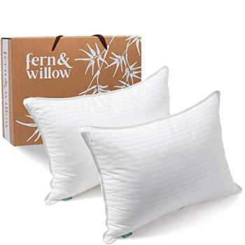 Fern And Willow Pillows for Sleeping - Queen Size, Set of 2 - Premium Down Alternative, Hotel Bed Pillow Set - Luxury, Plush Cooling Gel, Allergy Friendly - for Neck Pain, Back & Side Sleepers