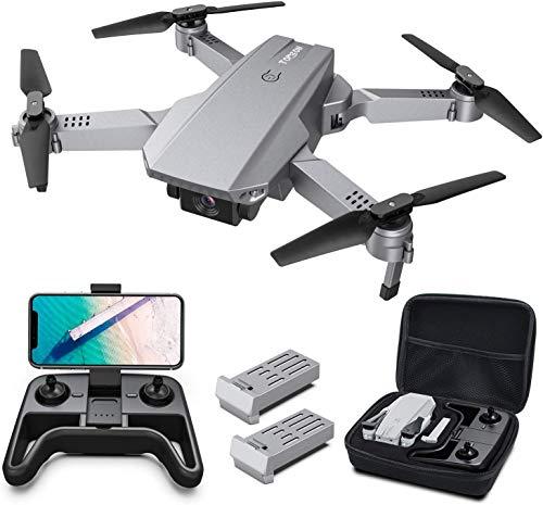 Tomzon Drone con Fotocamera 4K Drone Pieghevole D25 Posizionamento del Flusso Ottico, Fotografia Gestuale, Telecomando WiFi, Flips 3D, Schermo Condiviso, Due Batterie, Valigetta da Trasporto