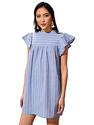 Cap Sleeve, Round Neck , Button, Ruffle, Summer Cute Dress Suit for daily wear,casual and so on Fabric has no stretch Machine Washable or Hand Washable Please read the size chart in the picture carefully before order