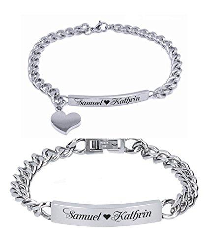 aplusashop ID Edelstahl Armbander mit Gravur nach Wunsch Partnerarmbänder Nr.3 mit Box NEU (Silber)