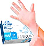 100 guanti in vinile M senza polvere, senza lattice, ipoallergenici, certificati CE trasparenti conforme alla norma EN455 e EN374 per i test dei guanti medici monouso (M)
