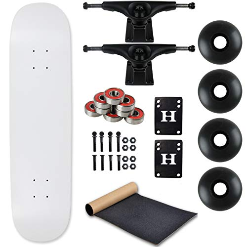 Moose Complete Skateboard Dip White 7.0' with Black Trucks and Black Wheels