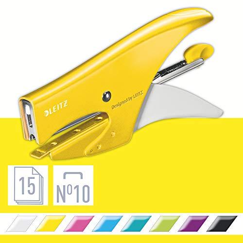 Leitz Cucitrice a pinza, Capacit 15 fogli, Design ergonomico in metallo, Include punti, Gamma WOW,...