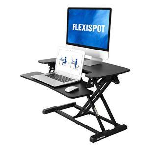 FLEXISPOT-Standing-Desk-Converter-30-inch-Height-Adjustable-Stand-Up-Desk-Riser-Black-Home-Office-Desk-Workstation-for-Dual-Monitors-and-Laptop-M730