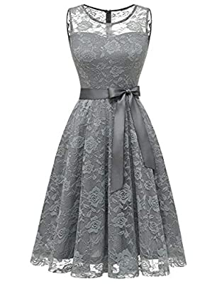 Notice:The bow on the waist needs to be tied, not existed originally. Please Refer To Our Size Chart Left Before Purchasing Fabric: Lace and Elastane, this perfect bridesmaid dress with just the right floral lace on bodice, this knee length formal go...