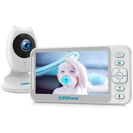 """Baby Monitor with Camera and Audio, Campark Video Baby Monitor 4.3"""" LCD Split Screen, Two-Way Talk, Night Vision, 8 Lullabies, Temperature Monitor and Long Last Battery"""