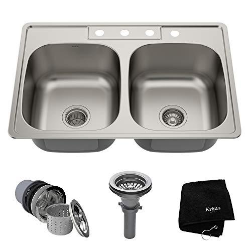 Kraus KTM33 33 inch Topmount 50/50 Double Bowl 18 gauge Stainless Steel Kitchen Sink