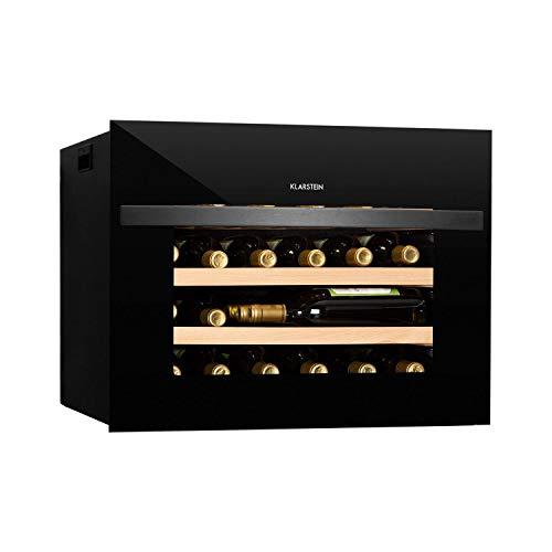 Klarstein Vinsider - Built-In Uno Cantinetta per Vini, Frigo ad Incasso, 1 Zona, Classe G, 24 Bottiglie/51 L, 5-20 C, Schermo LED, Frontale in Vetro di Sicurezza, Finestra Panoramica, Nero