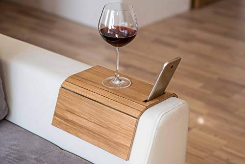 Vassoio in legno da divano organizer bracciolo tavolino vassoio per divano sottobicchiere portatelefono colore 3