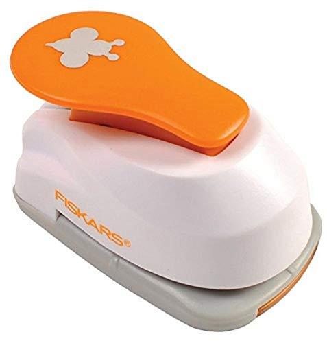 Fiskars Perforatore a leva con motivo, Farfalla,  1,9 cm, Per mancini e destrorsi, Acciaio di qualit/Plastica, Bianco/Arancione, Lever Punch, S, 1004724