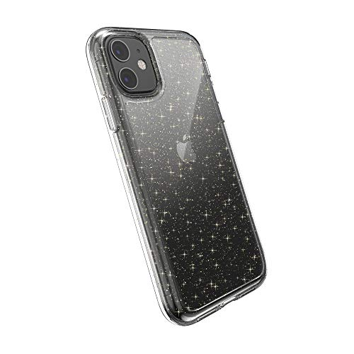 Speck Gemshell Glitter iPhone 11 Case, Clear with Gold Glitter/Clear