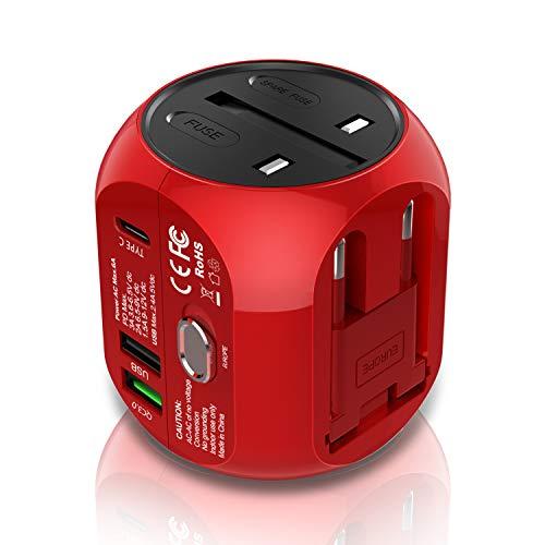 Milool Reiseadapter mit QC3.0 Technologie Weltreiseadapter Typ C+ 2 USB (US/EU/UK/AU) 30W All-In-One Reiseladegerät geeignet für über 150 Länder(Rot)